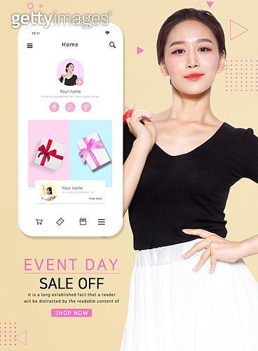 웹템플릿, 스마트폰, 상업이벤트 (사건), 세일 (사건), 쇼핑 (상업활동), 모바일결제, 쿠폰, 여성, 패션, 여름, 미녀 (아름다운사람), 휴가 (주제)