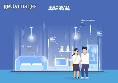 홀로그램, 일러스트, 영상화면 (시각교재), 미래 (컨셉), 5G, 4차산업혁명 (산업혁명)