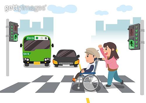 교육 (주제), 가르치는 (움직이는활동), 교과목 (사건), 일러스트, 신체장애 (장애), 횡단보도, 신호등