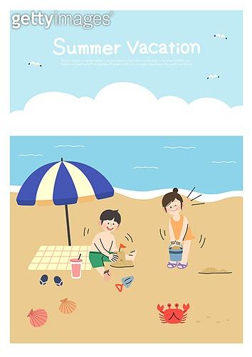 어린이 (인간의나이), 방학, 여름방학, 여름, 남자아기 (남성), 소녀 (여성), 해변, 바다, 파라솔 (인조물건), 모래성