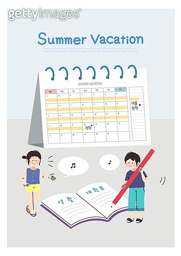 어린이 (인간의나이), 방학, 여름방학, 여름, 남자아기 (남성), 소녀 (여성), 달력, 탁상달력, 생활계획표