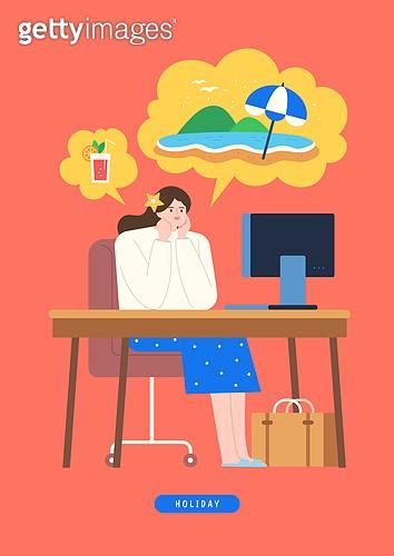 사람, 화이트칼라 (전문직), 휴가, 휴가 (주제), 여름, 비즈니스우먼, 여행, 상상력 (컨셉), 사무실