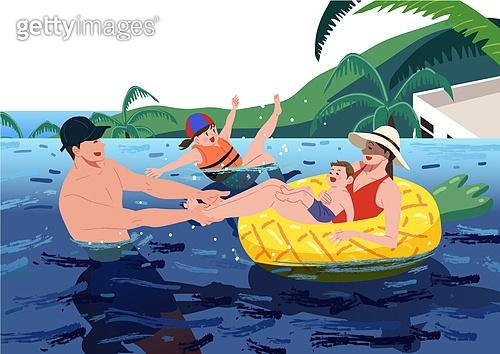휴가 (주제), 한달살기, 휴양 (컨셉), 해외 (지리적인장소), 라이프스타일, 가족, 바다, 물놀이튜브 (부풀림), 야자나무 (열대나무), 여행, 휴가