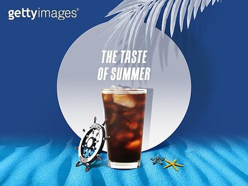 여름, 차가운음료 (무알콜음료), 원형 (이차원모양), 프레임, 아이스커피 (차가운음료)