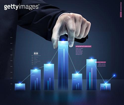 그래픽이미지, 합성, 홀로그램, 그래프, 인포그래픽, 증강현실 (기술), 빛효과, 비즈니스, 금융, 프로세스 (컨셉), 사람손 (주요신체부분), 손짓 (제스처), 기업