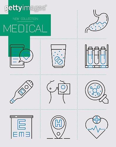 아이콘, 4차산업혁명 (산업혁명), 치료 (사건), 병원 (의료시설), 의사, 구급약통 (의료품), 보험 (주제), 의료직 (의료계종사자), 의료보험, 상해 (건강이상)