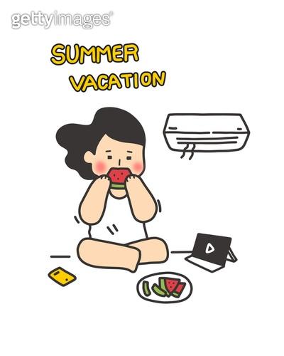 여름, 여름방학, 일러스트 (이미지), 폭염