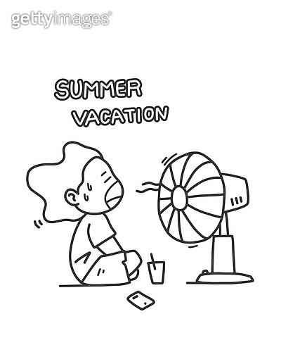 일러스트, 여름, 폭염, 방학, 계절, 무더위