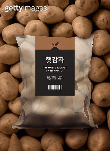 음식, 포장 (인조물건), 채소 (음식), 생감자 (채소), 비닐봉투 (가방)