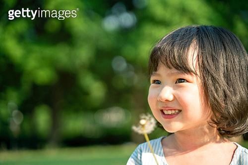한국인, 어린이 (인간의나이), 유치원생, 소녀 (여성), 방학, 순수, 행복, 민들레, 미소, 즐거움 (컨셉), 행복 (컨셉), 기쁨 (컨셉)