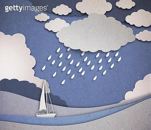 페이퍼아트, 하늘, 날씨, 구름, 배 (교통), 비 (물형태), 바다