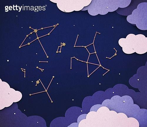 페이퍼아트, 하늘, 날씨, 구름, 별자리, 밤 (시간대)
