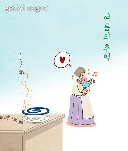 여름, 모기, 라이프스타일, 할머니 (조부모), 손자, 모기향