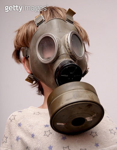 Boy in the soviet gas mask 2