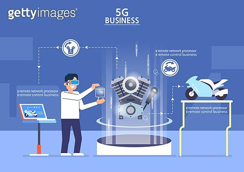 5G, 기술, 4차산업혁명 (산업혁명), 통제 (컨셉), 홀로그램, 전기모터 (동력장비), 기술자 (전문직)
