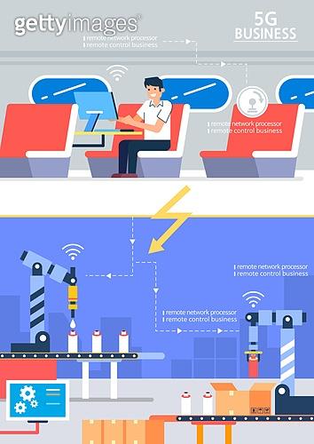 5G, 기술, 4차산업혁명 (산업혁명), 통제 (컨셉), 공장, 컨베이어벨트 (생산장비), 기차