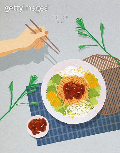 음식, 사람손 (주요신체부분), 잎, 여름, 그릇, 국수, 비빔국수