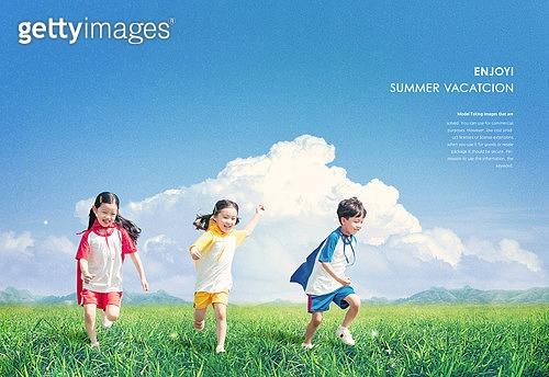 어린이 (인간의나이), 자연 (주제), 풍경, 풀 (식물), 창의성 (컨셉)