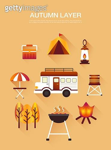 벡터 (일러스트), 아이콘, 플랫아이콘, 가을, 캠핑, 캠핑트레일러 (트레일러)