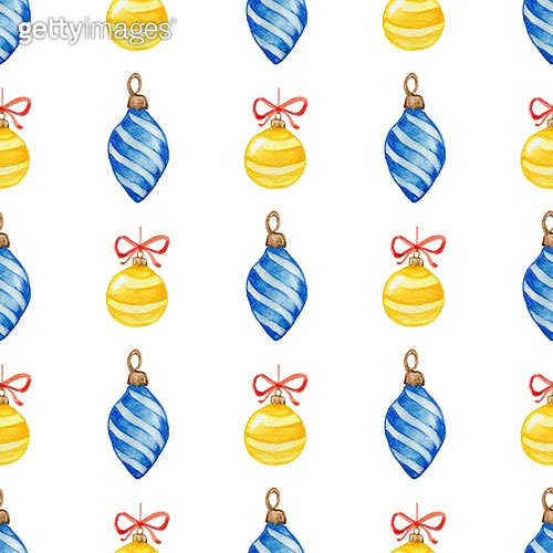 Decorative hand drawn watercolor Christmas seamless pattern with blue and yellow decorations on a white background