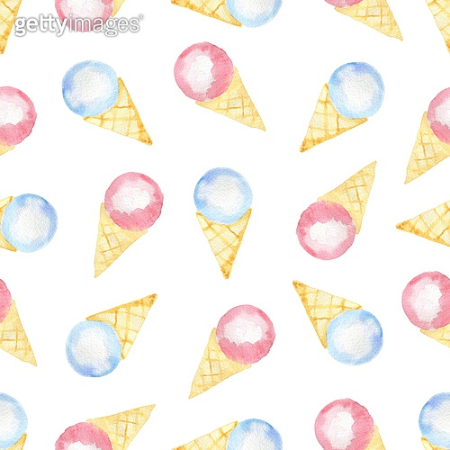 Watercolor seamless pattern with blue and pink ice cream in a waffle cone on a white background