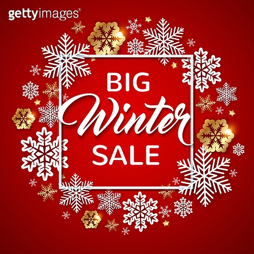 Decorative winter frame with white and golden snowflakes on a red background. Design for seasonal Christmas sale