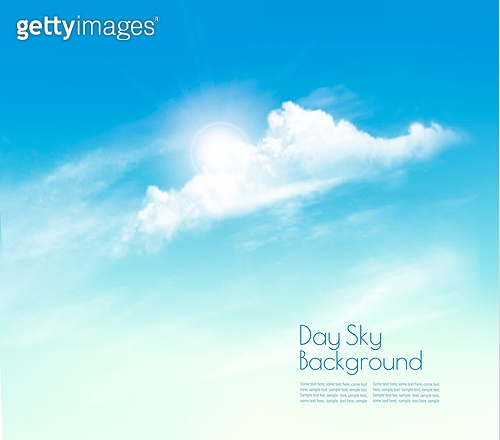 Day sky background with clouds and sun. Vector