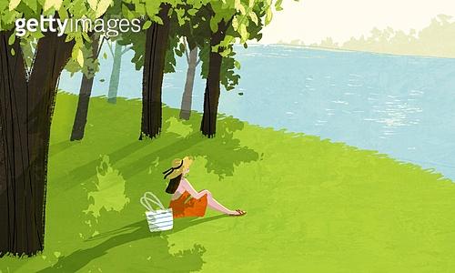 여름, 풍경 (컨셉), 여성 (성별), 라이프스타일, 휴식, 나무, 자연 (주제), 잔디밭 (경작지)