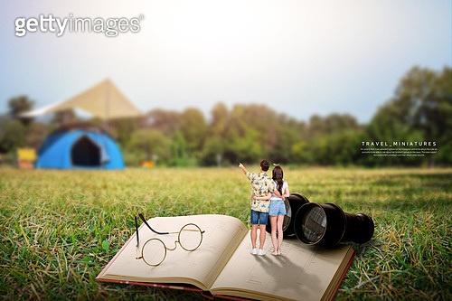 그래픽이미지, 미니어쳐 (공예품), 풍경 (컨셉), 휴가 (주제), 혼자여행 (여행), 커플, 캠핑
