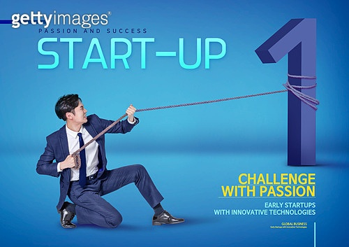 그래픽이미지, 합성, 비즈니스, 비즈니스맨, 스타트업 (소기업), 성공, 첫걸음, 남성, 용감 (컨셉)