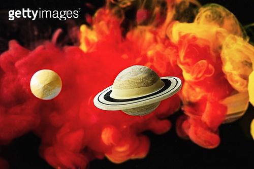 페인트 (예술도구), 잉크, 수채물감, 파장, 파문 (물체묘사), 번짐 (이미지), 우주 (자연현상), 빔 (상태), 컬러 (Image Type), 행성, 미래, 성운, 은하, 창의성, 태양계, 토성, 화성 (행성), 금성, 위성, 천왕성, 수성, 태양, 빨강, 노랑색 (색상)