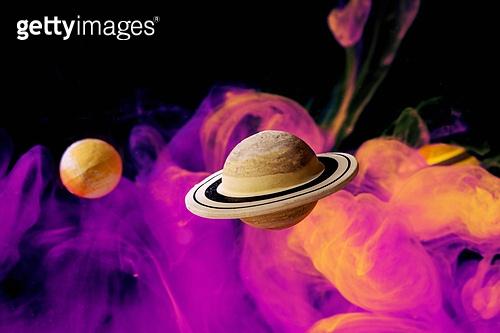 페인트 (예술도구), 잉크, 수채물감, 파장, 파문 (물체묘사), 번짐 (이미지), 우주 (자연현상), 빔 (상태), 컬러 (Image Type), 행성, 미래, 성운, 은하, 창의성, 태양계, 토성, 화성 (행성), 금성, 위성, 천왕성, 수성, 태양, 보라