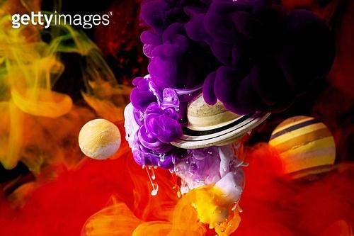 페인트 (예술도구), 잉크, 수채물감, 파장, 파문 (물체묘사), 번짐 (이미지), 우주 (자연현상), 빔 (상태), 컬러 (Image Type), 행성, 미래, 성운, 은하, 창의성, 태양계, 토성, 화성 (행성), 금성, 위성, 천왕성, 수성, 태양, 빨강, 노랑색 (색상), 보라