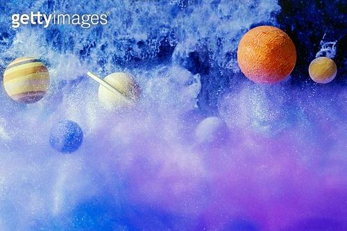 페인트 (예술도구), 잉크, 수채물감, 파장, 파문 (물체묘사), 번짐 (이미지), 우주 (자연현상), 빔 (상태), 컬러 (Image Type), 행성, 미래, 성운, 은하, 창의성, 태양계, 토성, 화성 (행성), 금성, 위성, 천왕성, 수성, 태양, 파랑, 보라, 반짝임 (물체묘사), 해왕성