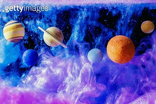 페인트 (예술도구), 잉크, 수채물감, 파장, 파문 (물체묘사), 번짐, 우주 (자연현상), 빔 (상태), 컬러 (Image Type), 행성, 미래, 성운, 은하, 창의성, 태양계, 화성 (행성), 금성, 위성, 토성, 천왕성, 해왕성, 수성, 태양, 보라, 파랑, 반짝임 (물체묘사)