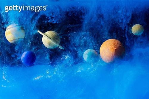 페인트 (예술도구), 잉크, 수채물감, 파장, 파문 (물체묘사), 번짐, 우주 (자연현상), 빔 (상태), 컬러 (Image Type), 행성, 미래, 성운, 은하, 창의성, 태양계, 화성 (행성), 금성, 위성, 토성, 천왕성, 해왕성, 수성, 태양, 파랑