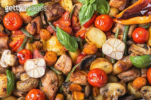 Baked meat with vegetables. Background with baked pork meat, potatoes and mushrooms