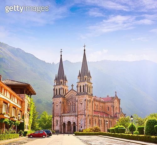 Covadonga Catholic sanctuary Basilica church in Asturias at Cangas de Onis
