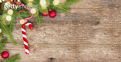 Christmas flat lay styled scene with evergreen tree twigs banner with copy space. Christmas flat lay styled scene