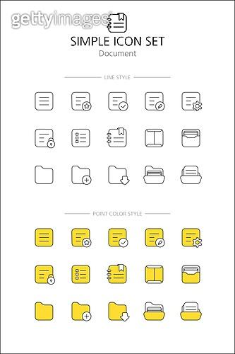 아이콘세트 (아이콘), 라인아이콘, 단순 (컨셉), 노랑색 (색상), 즐겨찾기, 확인, 읽기, 쓰기
