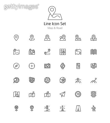 아이콘세트 (아이콘), 라인아이콘, 맵, 로드, 지도, 길