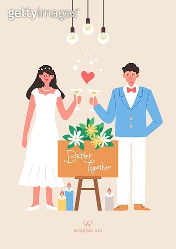 결혼 (사건), 축하이벤트 (사건), 결혼, 웨딩드레스 (드레스), 부부, Just Married (짧은문구), 꽃, 샴페인 (와인), 건배, 결혼피로연 (결혼)