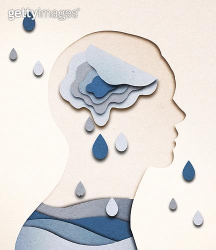 종이 (재료), 페이퍼아트, 치매, 뇌 (인체내부기관), 슬픔, 우울, 눈물, 옆모습