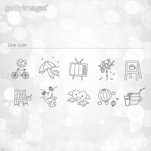 아이콘세트 (아이콘), 벡터 (일러스트), 그림아이콘, 자전거, 우산, 텔레비전, 마술