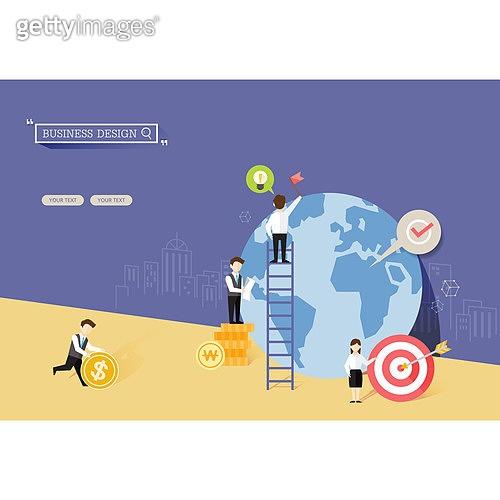 일러스트, 벡터 (일러스트), 플랫디자인, 비즈니스, 금융, 과녁, 재정, 아이디어
