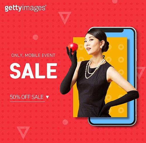 그래픽이미지, 합성, 이벤트페이지, 상업이벤트 (사건), 모바일결제, 쇼핑 (상업활동), 첫구매, 시작 (컨셉), 여성, 패션, 온라인쇼핑