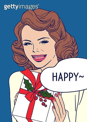 상업이벤트 (사건), 팝아트, 여성 (성별), 쇼핑 (상업활동), 20세기스타일 (스타일), 레트로스타일 (컨셉), 말풍선, 선물 (인조물건)
