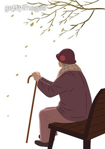 싱글라이프 (주제), 외로움 (컨셉), 연말, 겨울, 한명 (사람의수), 노인 (성인), 독거노인