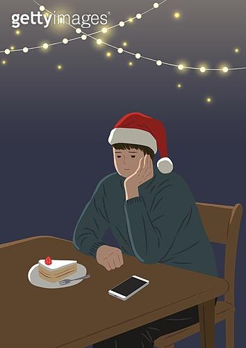 싱글라이프 (주제), 외로움 (컨셉), 연말, 겨울, 한명 (사람의수), 독신 (역할), 크리스마스 (국경일)