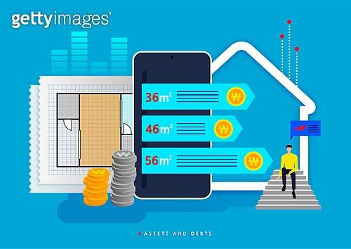 빚, 빚 (금융), 가정경제 (금융), 금융, 라이프스타일, 스마트폰, 주택문제, 설계도 (플랜)